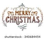 merry christmas retro poster...   Shutterstock .eps vector #340684454