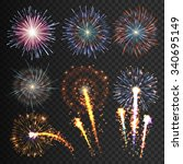 collection festive fireworks... | Shutterstock .eps vector #340695149