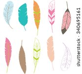 feather clip art feather... | Shutterstock .eps vector #340695161