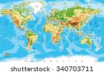 physical map of the world | Shutterstock .eps vector #340703711