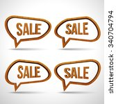 wooden sale sign speech bubble... | Shutterstock .eps vector #340704794