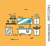 vector illustration of bathroom ... | Shutterstock .eps vector #340712561