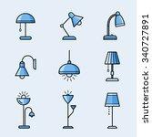 light fixtures icon set. lamps  ... | Shutterstock .eps vector #340727891