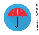 umbrella logo in flat design... | Shutterstock . vector #340737227