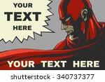 red superhero. speech bubble.... | Shutterstock .eps vector #340737377