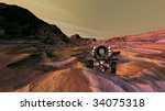 Mars vehicle negotiating crater rim terrain - stock photo