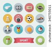 sports icon sign set  in flat... | Shutterstock .eps vector #340755011