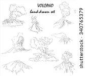volcano mountain peak eruption... | Shutterstock .eps vector #340765379