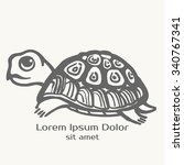 turtle hand drawn illustration. ... | Shutterstock .eps vector #340767341