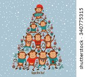 vector illustration  new year... | Shutterstock .eps vector #340775315