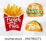 set of french fries  fish... | Shutterstock .eps vector #340780271