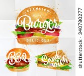set of classic burger  bbq and... | Shutterstock .eps vector #340780277