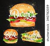set of classic burger  bbq... | Shutterstock .eps vector #340782059