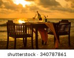 Dinner On The Beach On Sunset...
