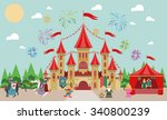medieval castle with characters ... | Shutterstock .eps vector #340800239
