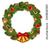 fluffy christmas wreath with... | Shutterstock .eps vector #340808585