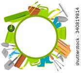round background garden tools... | Shutterstock .eps vector #340819814