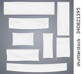 White textile banners with folds template set. Separate shadow. Cotton and canvas, flag blank, advertising empty, vector illustration | Shutterstock vector #340821395
