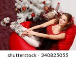 coquettish woman in front of a... | Shutterstock . vector #340825055