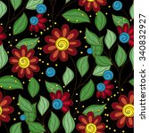seamless floral pattern. hand... | Shutterstock . vector #340832927