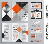 geometric business brochure... | Shutterstock .eps vector #340834991
