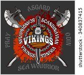 viking emblem and logos plus... | Shutterstock .eps vector #340837415