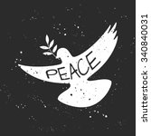 vector grungy peace dove with... | Shutterstock .eps vector #340840031