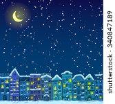 winter city in snow night.... | Shutterstock .eps vector #340847189