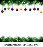 vector christmas festive decoration festive christmas tree vector border