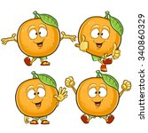 orange cartoon character set... | Shutterstock .eps vector #340860329