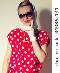 retro woman fashion portrait ... | Shutterstock . vector #340865141