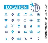 location  map  route  icons ... | Shutterstock .eps vector #340875269