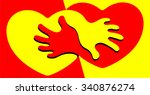 yellow and red hearts and... | Shutterstock .eps vector #340876274