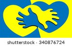 yellow and blue hearts and... | Shutterstock .eps vector #340876724