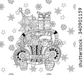 christmas car gift doodle... | Shutterstock .eps vector #340901159