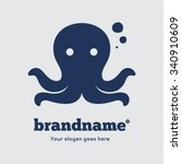 blue octopus on a grey... | Shutterstock .eps vector #340910609