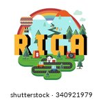 riga in latvia is beautiful... | Shutterstock .eps vector #340921979