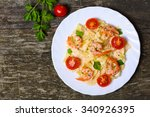 pasta with shrimp  tomatoes ... | Shutterstock . vector #340926395