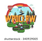 wrocl aw in poland is beautiful ...   Shutterstock .eps vector #340929005