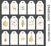 christmas gift tags  stickers... | Shutterstock .eps vector #340938965