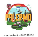 palermo in italy is beautiful...   Shutterstock .eps vector #340943555