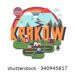 krakow in poland is beautiful... | Shutterstock .eps vector #340945817