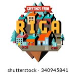 riga in latvia is beautiful... | Shutterstock .eps vector #340945841