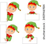 cartoon elf boy costume with... | Shutterstock .eps vector #340946984