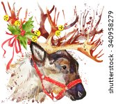 Watercolor Christmas Reindeer....