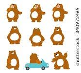 cute character brown bear... | Shutterstock .eps vector #340972469
