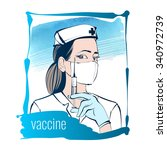 a nurse holds a syringe in his... | Shutterstock .eps vector #340972739