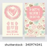 cute card with doodle heart... | Shutterstock .eps vector #340974341