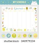 cute calendar weekly planner... | Shutterstock .eps vector #340979234