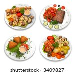 4 dishes of delicious food.... | Shutterstock . vector #3409827